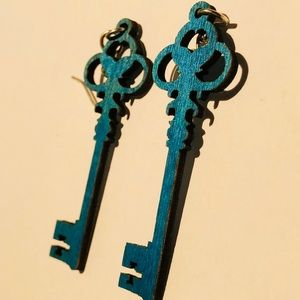Bright Blue Colorful Wooden Skeleton Key Earrings